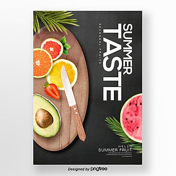 natural fashion simple summer fresh fruit theme poster Template