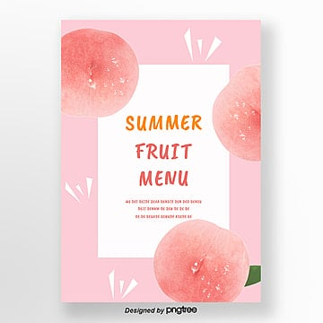 pink summer peach fresh poster Template