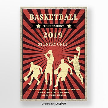 Red Retro Basketball Poster Template