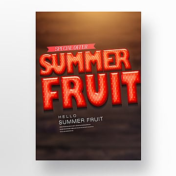 red strawberry style summer fresh fruit theme poster Template