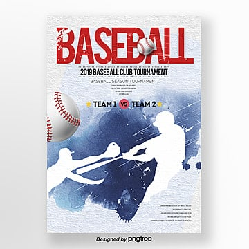 sports theme poster of modern ink baseball competition Template