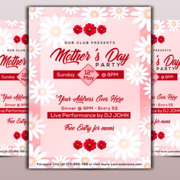 floral mothers day flyer Template