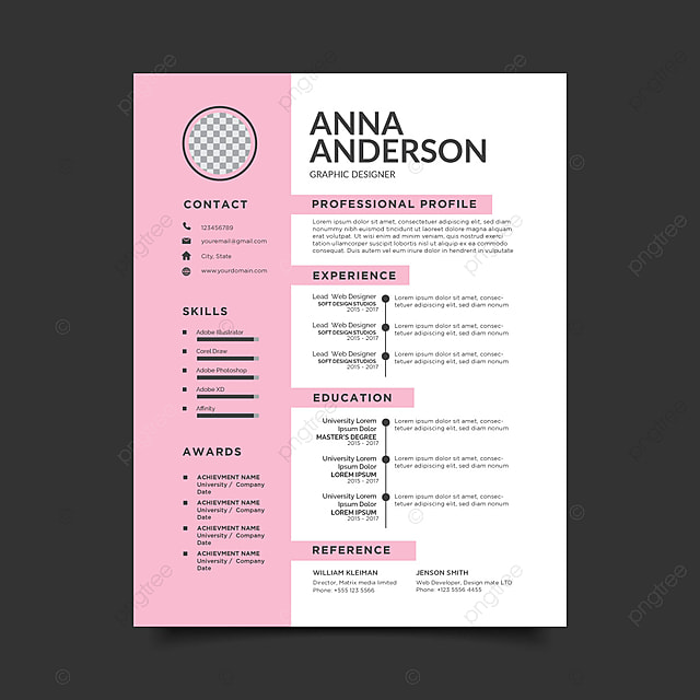 Pink Resume Template Template For Free Download On Pngtree