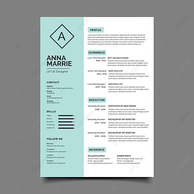 Simple And Clean Resume Template For Free Download On Pngtree