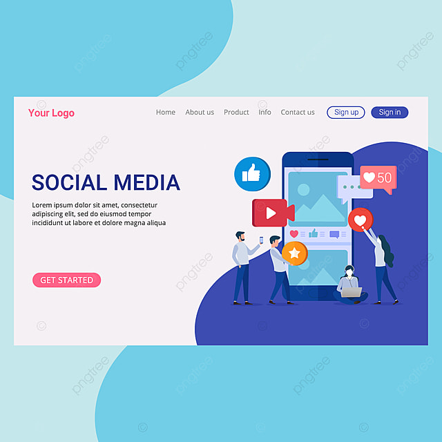 Social Media Concept Landing Page Template For Website And