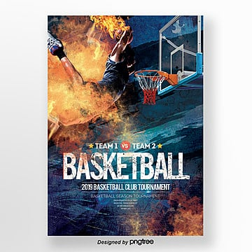 Cool Basketball Club Sports Poster Template