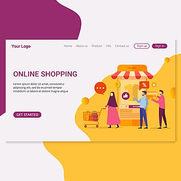 design concept of online shopping landing page template for website and mobile website Template