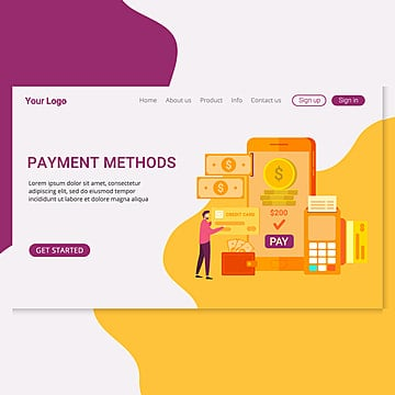 landing page template payment methods design concept Template