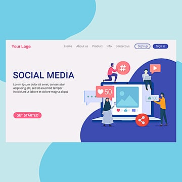 social media concept landing page template for website and mobile website Template