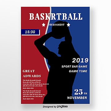 creative posters for red and blue retro basketball matches Template