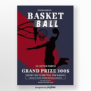 Red and Blue Retro Sports Basketball Match Poster Template