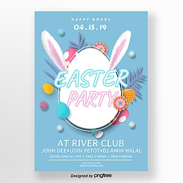 Blue cartoon Easter creative Poster Template