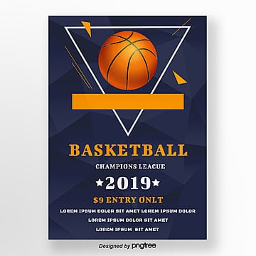 Blue Simple Style Basketball Creative Poster Template