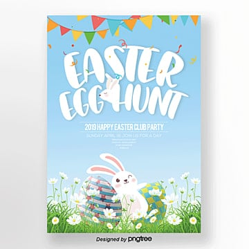 cartoon cute easter theme posters, Theme, Rabbit, Cartoon PNG and PSD