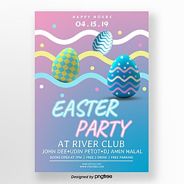 Colorful Gradual Cartoon Creative Easter Poster Template