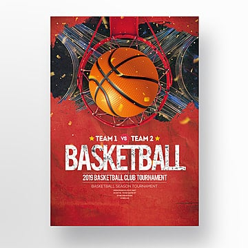 Creative retro basketball sports posters Template
