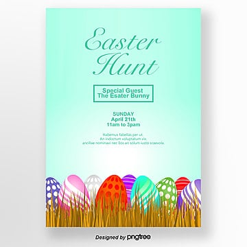 easter posters with simple green eggs Template