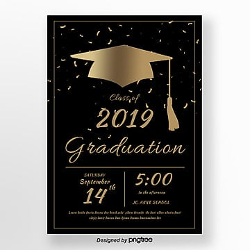 black simple style graduation party poster Template