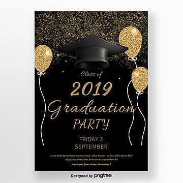 Graduation Poster in Black Simple Style Template