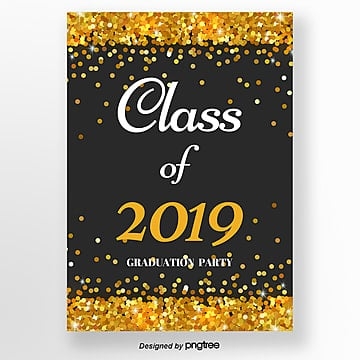 invitation letter for graduation party with black and gold sequins Template