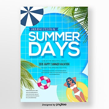 Fashion Cartoon Summer Leisure Fresh Theme Poster Template