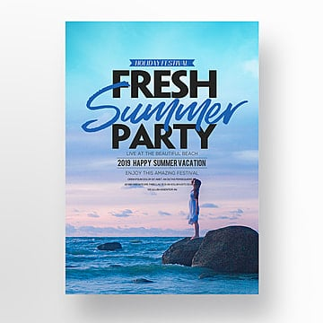 Promotional posters for the theme of the refreshing summer party, Theme, Holiday, Creative PNG and PSD
