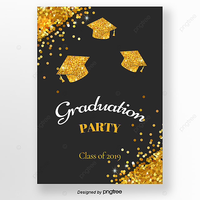 golden flash graduation cap invitation letter for
