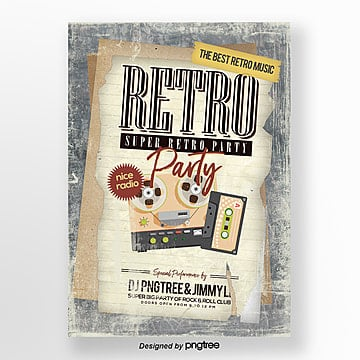 Cartoon Fashion Retro Style Simple Music Party Poster, Theme, Imitation Of Old, Vintage PNG and PSD