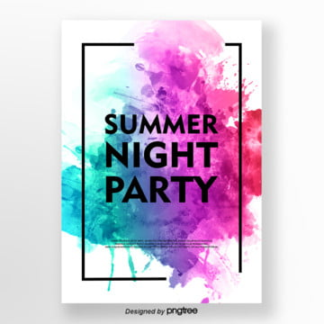 colourful cool watercolor style summer party posters Template