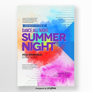fashion simple gradual watercolor style summer night party poster Template