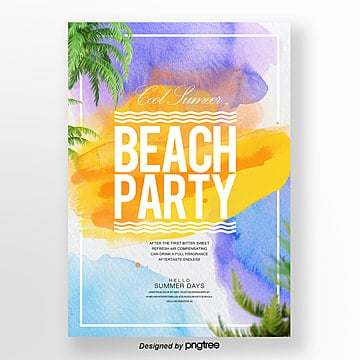 gradual fashion abstract watercolor style summer night party posters Template
