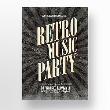 simple fashion retro music publicity theme poster Template