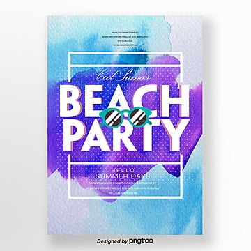 watercolor fresh style summer night party theme poster Template