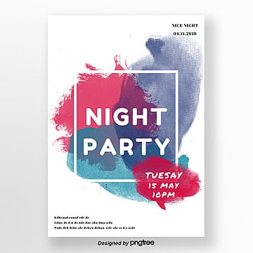 watercolor style summer night party poster Template
