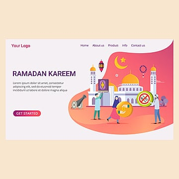 landing page template ramadan kareem with small people and muslim activity symbol Template