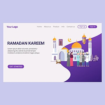 landing page template ramadan kareem with small people Template