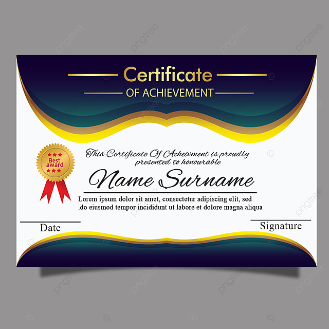 Gold Certificate Of Achievement For Multipurpose Diploma