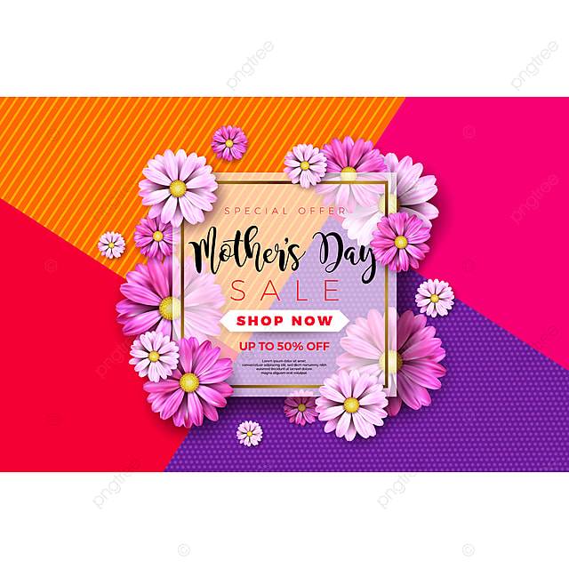 Happy Mothers Day Greeting Card Design With Flower And
