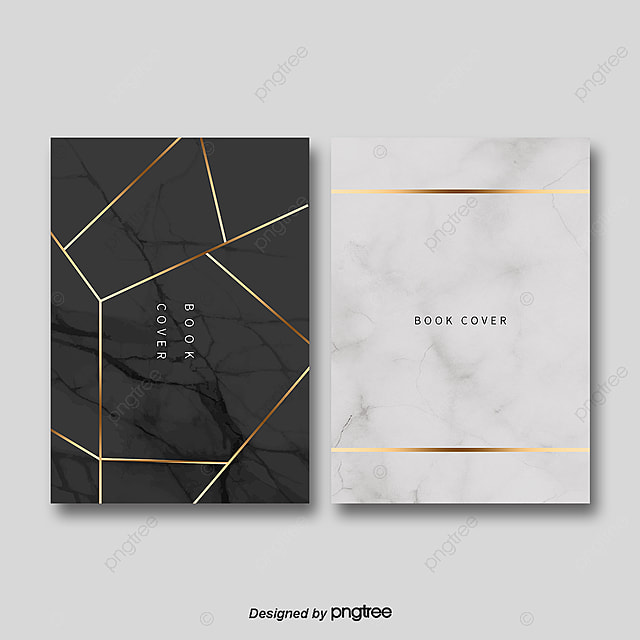 Simple Black Marble Gold Border Book Cover Template