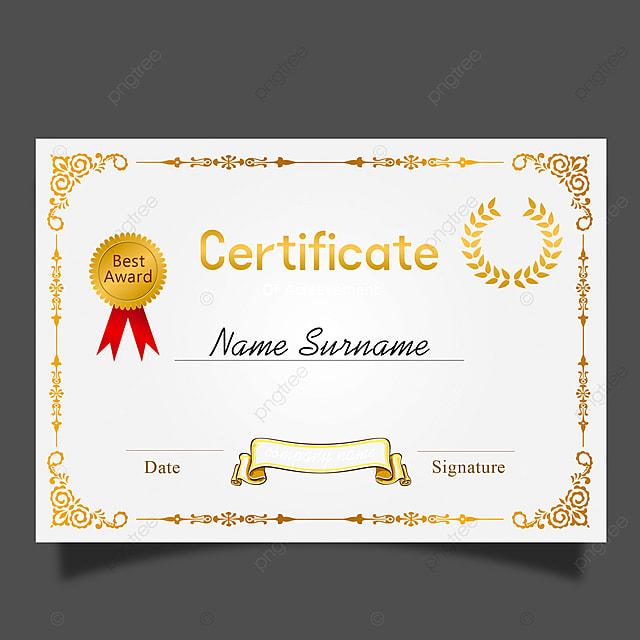 Vector European Certificate Border Horizontal Template For