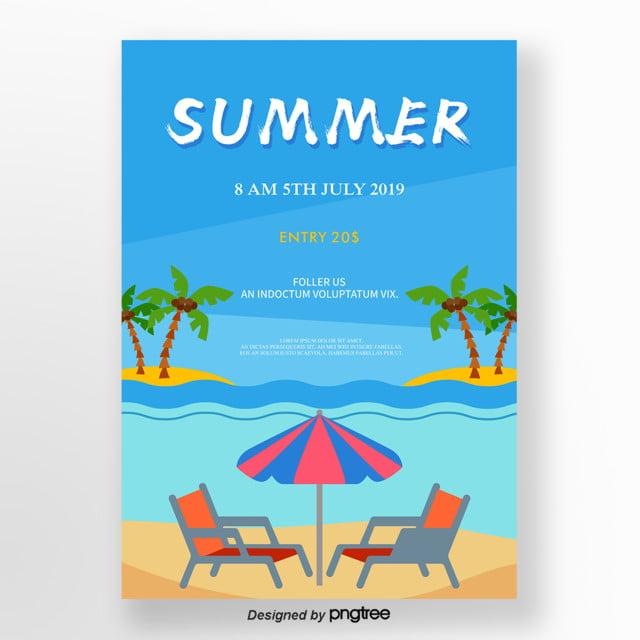 Blue Bright Cartoon Beach Summer Poster Template