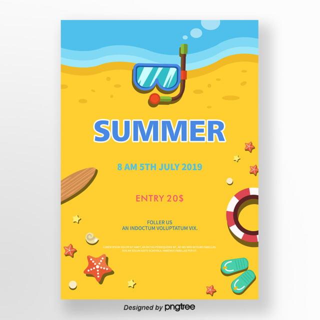 Yellow Cute Cartoon Summer Poster Template