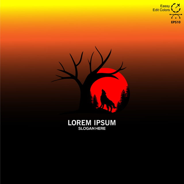 Les Rugissements Sous La Pleine Lune Rouge Le Loup Le Logo