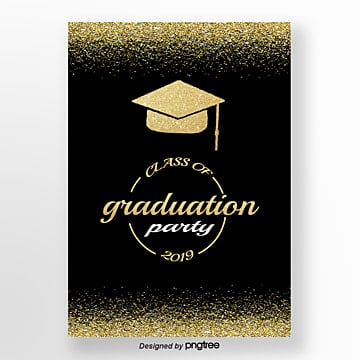Golden Brilliant Graduation Party Poster Template