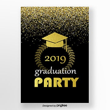 Golden Graduation Party Poster Template