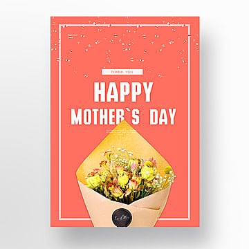 Happy Mothers Day Coral Red Popular Rose Poster, Thank, Mothers Day, Happy Mothers Day PNG and PSD