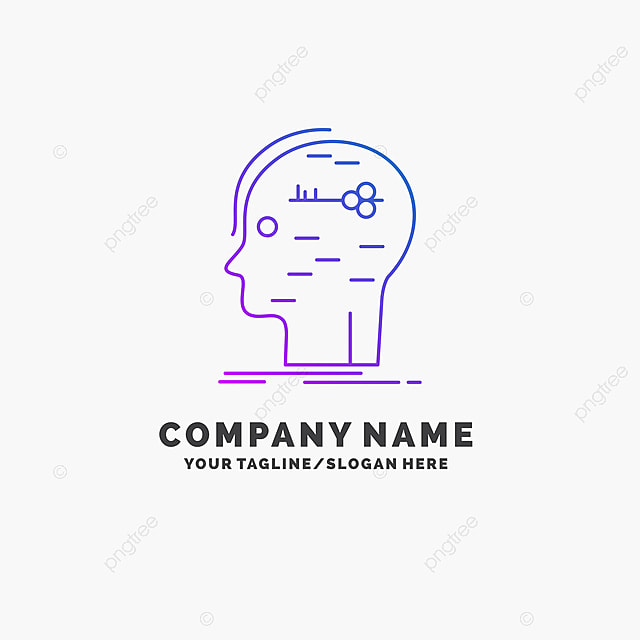 Brain Hack Hacking Key Mind Purple Business Logo Template P