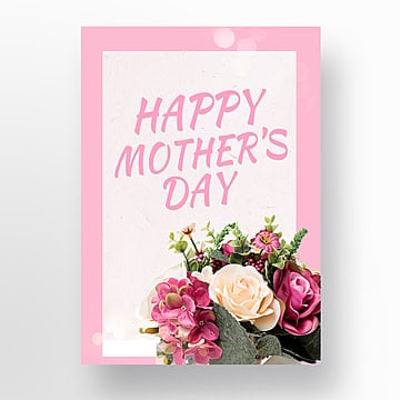 happy mothers day pink flower bow poster template Template
