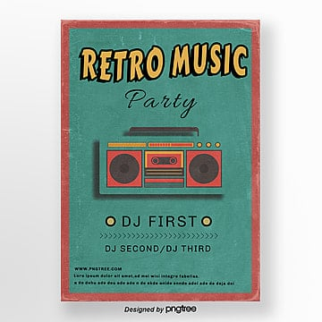 posters for retro music parties, Vintage, Retro-style Posters, Phonograph PNG and PSD