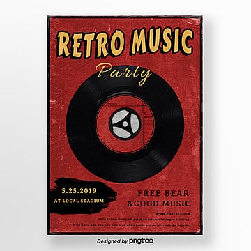 red retro music party posters, Cd, Retro Style, Party PNG and PSD
